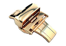GOLD TONE PUSH BUTTON BUTTERFLY DEPLOYMENT CLASP FOR WATCH BAND STRAP
