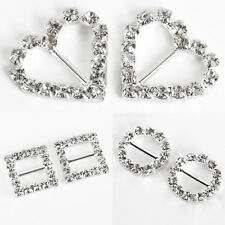 20 pcs Rhinestone Buckle Invitation Ribbon Slider For Wedding Supplies 3 Shape
