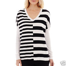 Worthington Long-Sleeve V-Neck Striped Sweater Size M, L, XL New With Tags