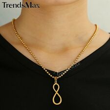 Mens Women Chain Silver Gold Number 8 Stainless Steel PENDANT NECKLACE Bead Link