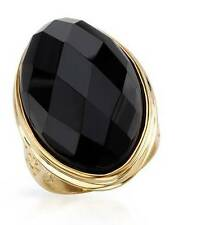 Gold-Plated Sterling Silver Genuine BLACK ONYX Cocktail Ring - Size 8 - New