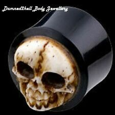 HORN EAR FLESH PLUG WITH CARVED SKULL ~ VARIOUS SIZES ~ ORGANIC