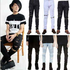 Mens Straight Leg Denim Jeans Bottoms Ripped Distressed Slim Fit Pants Trousers