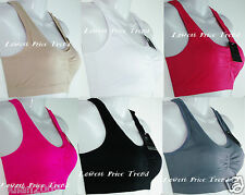 Pack of 6 pcs Sports Bras Lot,Racerback Wire-Free Removable Pads One Size 5512NP