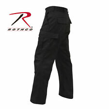 BLACK Rothco Mens Tactical Poly/Cotton cargo Pants -Solid Color BDU Pants | Add