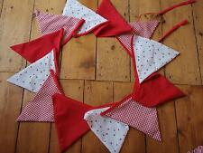 Shabby Chic double sided fabric 12 & 14 flag Bunting nursery birthday apx 14 ft