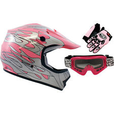 Youth Pink Flame Dirt Bike Motocross Off-Road ATV Helmet W/Goggles+Gloves~S, M,L