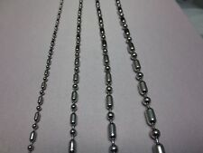"2.4-4.5MM 16-60"" STAINLESS STEEL SILVER  BALL AND OVAL BEAD ROPE CHAIN NECKLACE"