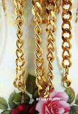 18 k gold Stainless steel Link Curb Cuban Chain Necklace Bracelet,9 mm 7-36''