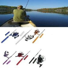 Portable Mini Aluminum Pocket Pen Shape Fishing Fish Rod Pole + Fishing Reel US