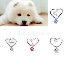 Fashion Cat Dog Puppy Necklace Collar with Crystal Pet Paw Print Pendant Jewelry