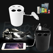 Dual USB Port Car Charger Cigarette Lighter Socket DC Power Adapter Splitter HOT