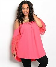 Coral Lace Off Shoulder Smocked Top Tunic Chiffon Plus Size 1X 2X 3X New Blouse