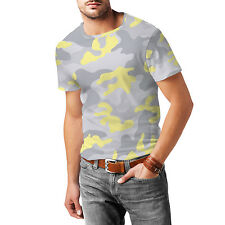 Camouflage Pastel Yellow Mens Cotton Blend T-Shirt XS - 3XL Sublimation All-Over
