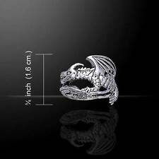 Superb Coiled Fantasy Winged DRAGON Sterling Silver Ring