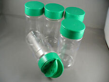 SPICE BOTTLES JARS 8 oz ROUND CLEAR PLASTIC SHAKER & SPOON CAPS Lot of 5