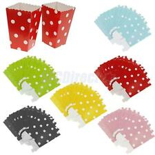 12x POPCORN Snake Box/Bucket Dot Paper Movie Treat Party FOOD/LOOT Bags 6 Colors