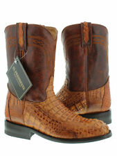 mens cognac brown roper crocodile leather cowboy boots rodeo western alligator