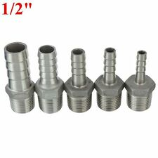 """1/2""""Male Thread Pipe Fitting x Barb Hose Tail Connector Stainless Steel NPT b4"""