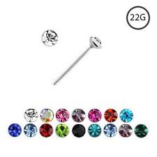 925 Sterling Silver Straight or L Bend Nose Stud Ring 2.5mm CZ 22 Gauge 22G