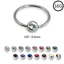 "Captive Bead Ring Nose Ring Surgical Steel Hoop 3/8"" 9.5mm 2mm CZ 16G"