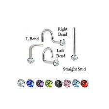 Titanium Nose Stud Screw Ring Jewelry Piercing 2mm Round Gem CZ 20 Gauge 20G