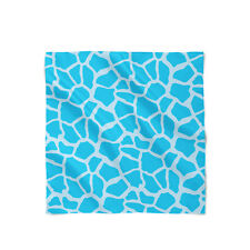 Giraffe Print Bright Blue Satin Style Scarf - Bandana in 3 sizes