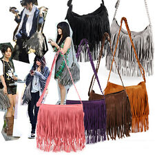 Both Side Fringe Tassel Faux Suede Shoulder Messenger Cross Body Handbag