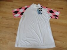 Loudmouth Mens Mock Shirt Moisture Wicking Golf Pink & Black Small Large NWT