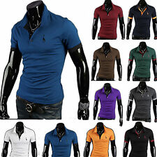 Men Vintage Slim Fitted Polo Neck Shirt Short /Long Sleeve Casual T-shirts Tops