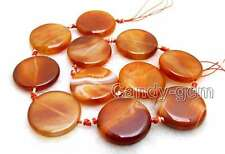 """SALE Big 28mm Coin Round Natural Red Striped agate Loose Beads strand 15""""-los662"""
