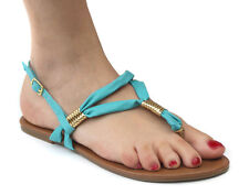 New Odeon Turquoise/Gold Womens Slingback Toe Post Sandals ALL SIZES