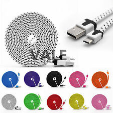 Braided Flat Micro USB A to USB 2.0 B Data Charger Cable For iPhone 5S 6 Samsung