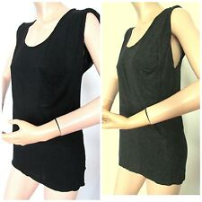 3-6-T Black or Gray Gathered Sleeveless Pocket Front Muscle Tunic Tops L