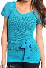 Teal Open Crochet Chiffon Short Sleeve Eyelash Lace Top S/M/L