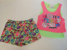 Girls shorts & top Set Girls clothes Shorts Tops Peace Love Pink 1000% Cute