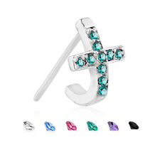 925 Sterling Silver Nose Hugger Stud Ring CZ Cross - Choose Your Style