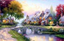Thomas Kinkade Cobblestone Bridge 12x18 Classic Edition Framed Canvas
