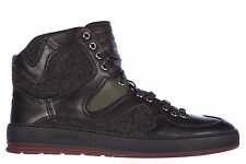 DIOR MEN'S SHOES HIGH TOP LEATHER TRAINERS SNEAKERS NEW B19 BLACK 6B3