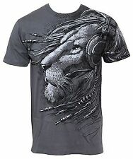 PLUGGED IN LION DJ AMPED WILD CAT HEADPHONES MUSIC ROCK AND ROLL SHIRT 11737