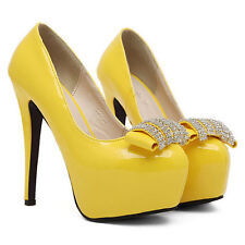 Womens Platform Pumps High Heels Bridal Shoes Yellow