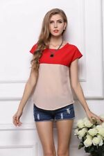 New Womens Ladies Summer Contrast Color Chiffon Blouse Tops Shirt Tee