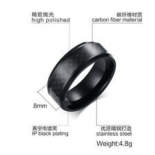 Fashion 8MM Size 7-12 Black Band Chain Stainless Steel Men's Wedding Rings Gift