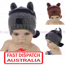 Baby Toddler Girl Boy Animal Crochet Beanie Hat Ear Head Cover Fox Raccoon Coon