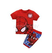 2pcs Boy Kids Toddler Spiderman Top Pants Pajamas Set Homewear Sleepwear Outfits