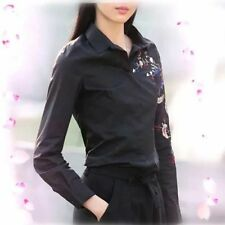 New Womens Ladies Floral Embroidered Long Sleeve Cotton Blouse Tops Shirt