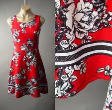 Red Black White Floral Print Fit And Flare Vtg-y 50s Swing 190 mv Dress S M L