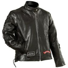 WOMENS MOTORCYCLE LEATHER JACKET w/ NEHRU COLLAR & LIVE TO RIDE PATCHES