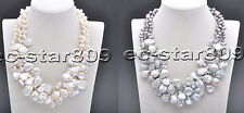 "D0234 3Row 18"" 14mm White & Gray Rice Coin Freshwater Cultured Pearl necklace"