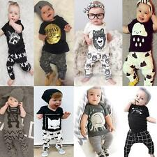 Newborn Toddler Kids Baby Boy Outfits Clothes T-shirt Top+Pants Summer 2PCS Set